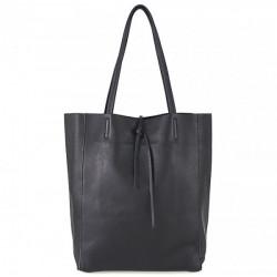 Kožená shopper kabelka 396 čierna, Čierna