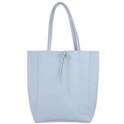 Kožená shopper kabelka 396 nebesky modrá, Nebesky modrá