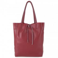Kožená shopper kabelka 396 tmavočervená Červená