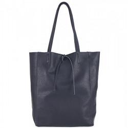 Kožená shopper kabelka 396 tmavomodrá, Modrá