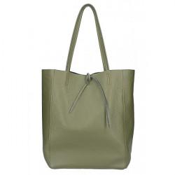 Kožená shopper kabelka 396 vojensky zelená, Zelená