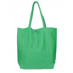 Kožená shopper kabelka 396 zelená Made in Italy Zelená