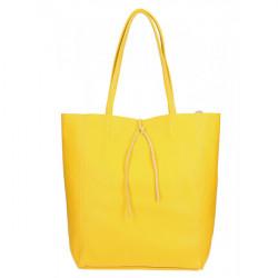 Kožená shopper kabelka 396 žltá Made in Italy, Žltá