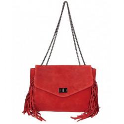 Kožená strapcová kabelka 346 Made in Italy červená Červená