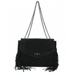 Kožená strapcová kabelka 346 Made in Italy čierna Čierna