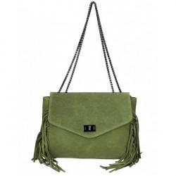 Kožená strapcová kabelka 346 Made in Italy vojensky zelená Zelená