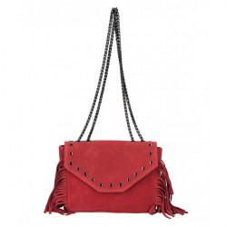 Kožená strapcová kabelka 381 Made in Italy červená Červená