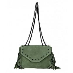 Kožená strapcová kabelka 381 Made in Italy vojensky zelená Zelená