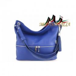 Kožená talianska kabelka na rameno 143 azurovo modrá MADE IN ITALY 143