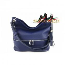 Kožená talianska kabelka na rameno 143 modrá MADE IN