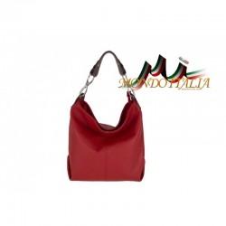 Kožená talianska kabelka na rameno 816 červená MADE IN ITALY