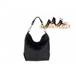 Kožená talianska kabelka na rameno 816 čierna MADE IN