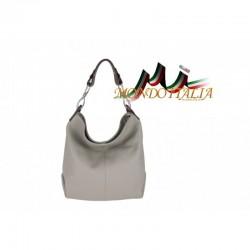 Kožená talianska kabelka na rameno 816 šedá MADE IN