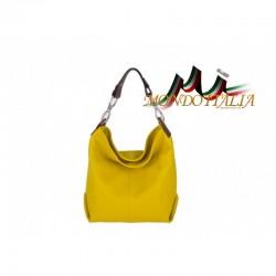 Kožená talianska kabelka na rameno 816 žltá MADE IN