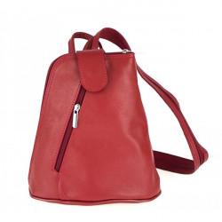 Kožený batoh 1083 červený Made in Italy Červená