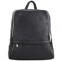Kožený batoh 129 čierny Made in Italy, Čierna