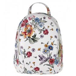 Kožený batoh 1483 Made in Italy biely s kvetinami, Biela