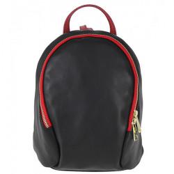 Kožený batoh 1483 Made in Italy čierna + červená, Čierna