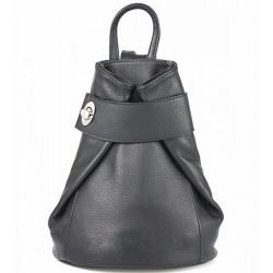 Kožený batoh 443 čierny Made in Italy, Čierna