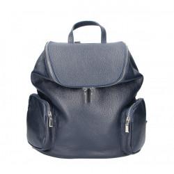 Kožený batoh 5339 tmavomodrý Made in Italy, Modrá
