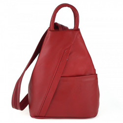 Kožený batoh červený Made in Italy, Červená