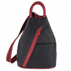 Kožený batoh čierna + červená Made in Italy, Čierna