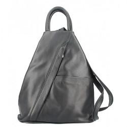 Kožený batoh čierny Made in Italy, Čierna