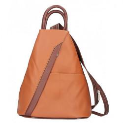 Kožený batoh koňak + hnedá Made in Italy, Koňak