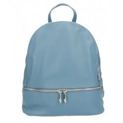 Kožený batoh MI1084 nebesky modrý Made in Italy, Nebesky modrá
