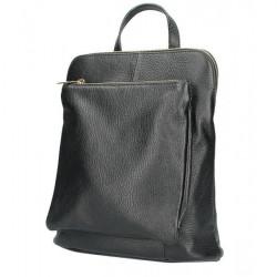 Kožený batoh MI899 čierny Made in Italy, Čierna