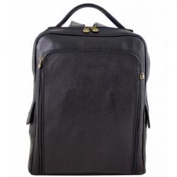 Kožený batoh MI902 čierny Made in Italy, Čierna