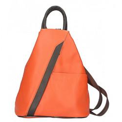 Kožený batoh oranžový Made in Italy, Oranžová