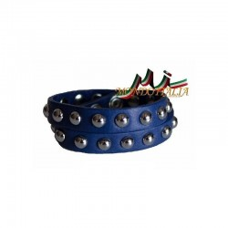 KOŽENÝ NÁRAMOK 846 azurovo modrý MADE IN ITALY 846