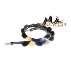 Kožušinové POMPOM ramienko na kabelku 508 viacfarebné MADE IN ITALY 508