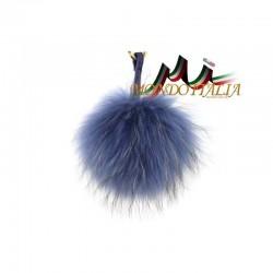 Kožušinový prívesok/kľúčenka POM POM azurovo modrá