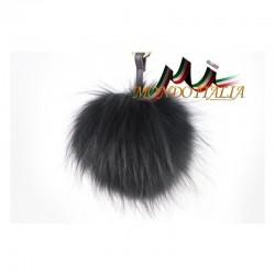 Kožušinový prívesok/kľúčenka POM POM čierna MADE