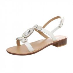 Letné sandále s kamienkami biele, 41, biela