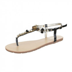 Letné sandále s kamienkami čierne, 38, čierna