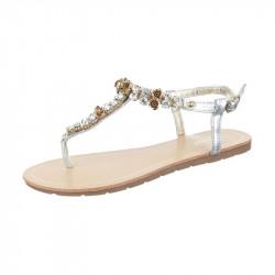 Letné sandále s kamienkami strieborné, 37, strieborná