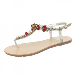 Letné sandále s kamienkami zlaté, 38, zlatá