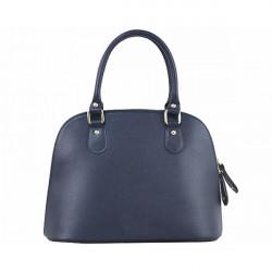 Modrá dámska kožená kabelka 444, Modrá