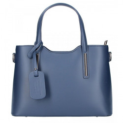 Modrá kožená kabelka do ruky 1364 Made in Italy, Modrá