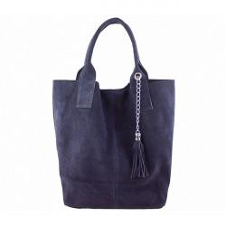 Modrá kožená kabelka v úprave semiš 804, Modrá