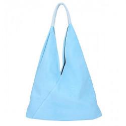 Nebesky modrá kožená kabelka na rameno v úprave semiš 184, Nebesky modrá