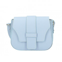 Nebesky modrá talianska kožená kabelka na rameno 870A, Nebesky modrá