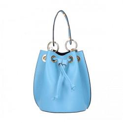 Nebesky modrá vaková kožená kabelka 5319, Nebesky modrá