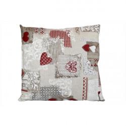 Obliečka na vankúš 40x40 cm patchwork červené srdiečka Červená