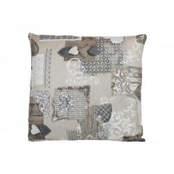 Obliečka na vankúš 40x40 cm patchwork šedohnedé srdiečka Béžová