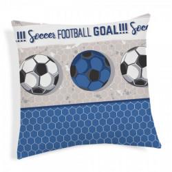 Obliečka na vankúš Futbal modrá 40x40 cm Made in Italy Modrá