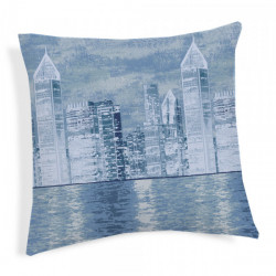 Obliečka na vankúš New York modrá 40x40 cm Made in Italy Modrá